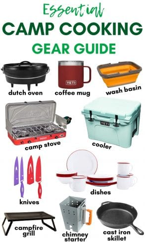 "Pinterest graphic with text overlay reading ""Essential Camp Cooking Gear Guide"""