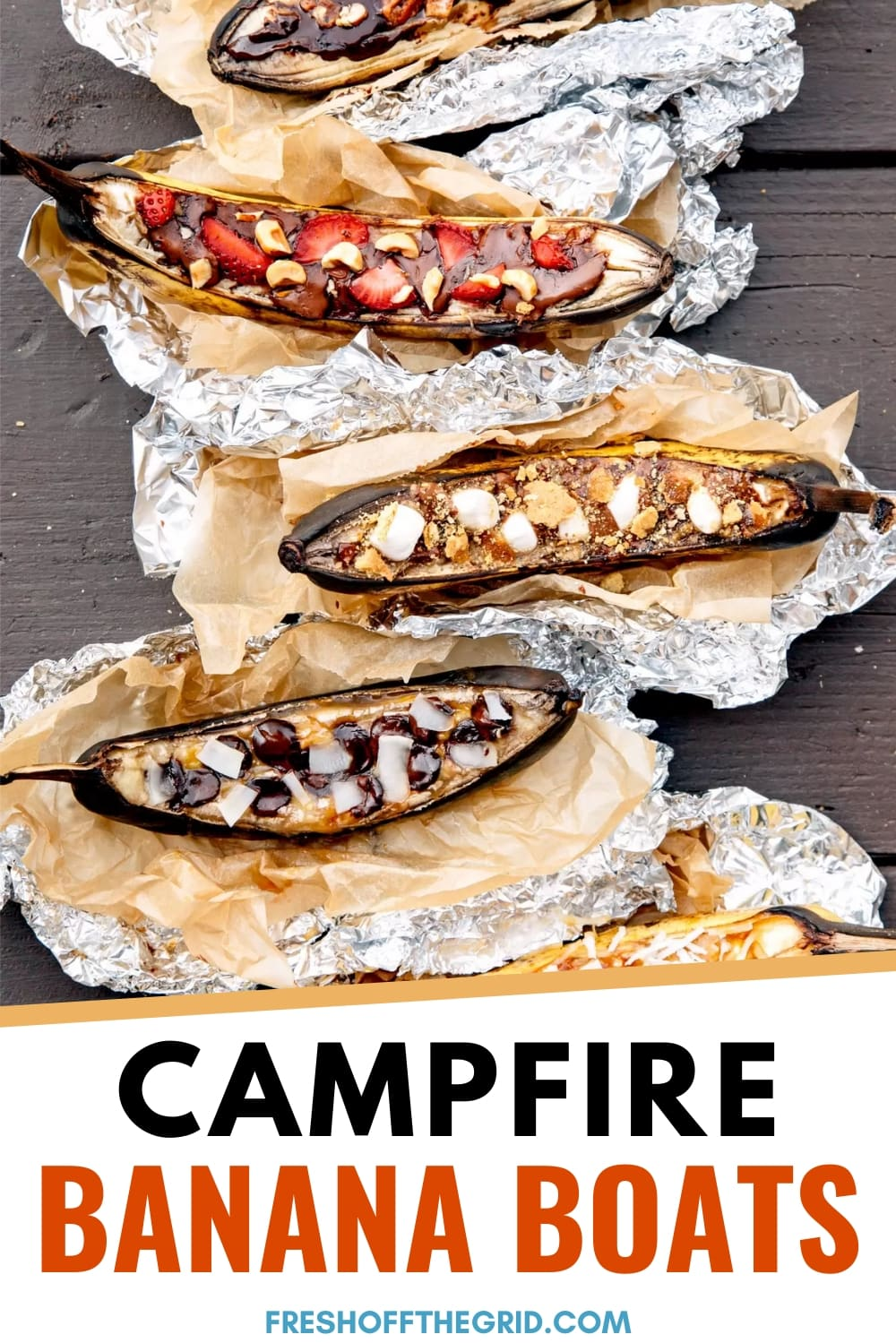 Banana Boats are a classic campfire dessert and camping tradition! Learn how to make grilled banana boats with 9 different fun and creative topping combinations! via @freshoffthegrid