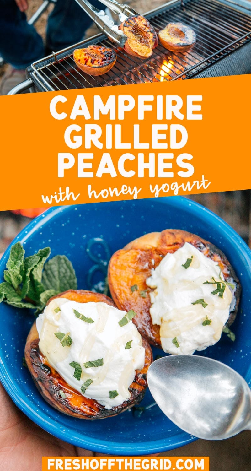 Grilled peaches are an easy summer dessert that takes only minutes to prepare. Combined with yogurt, honey, and fresh mint, this is a perfect dessert for camping or a backyard BBQ! via @freshoffthegrid