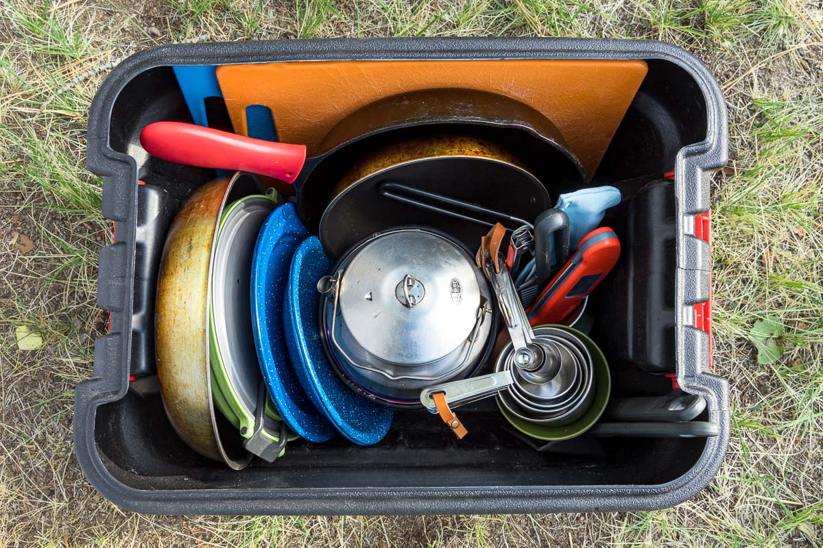 Camping cookware organized in an action packer box