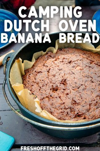"Pinterest graphic with text overlay reading ""Camping Dutch Oven Banana Bread"""