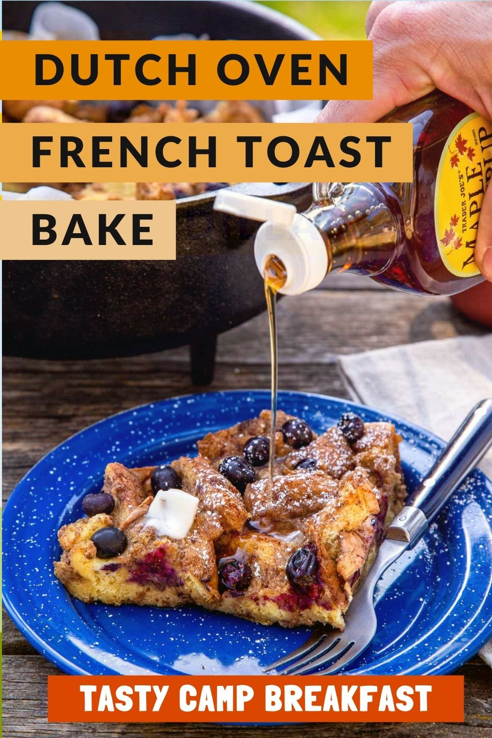 This Dutch Oven French Toast is an awesome camping breakfast! Baked French toast is so easy to make over the campfire and it's a great option if you're cooking for a group. Click through to get the full recipe! Camping food | Dutch oven camping meal via @freshoffthegrid