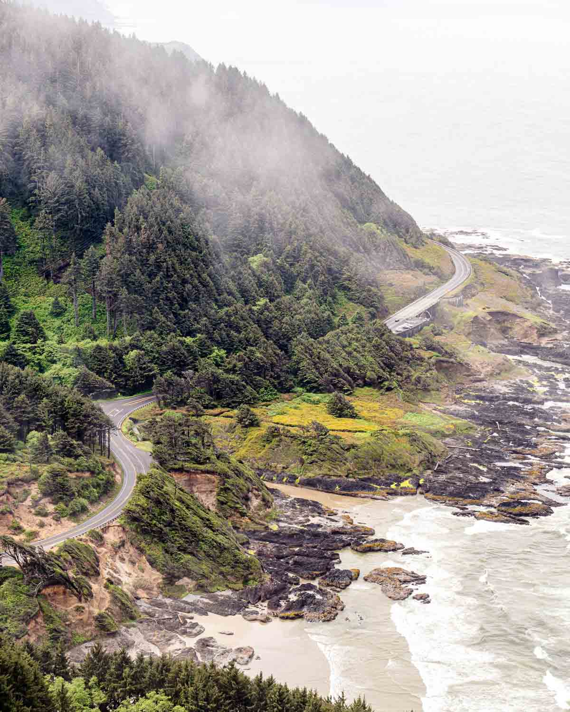 A road winding along coastal cliffs.
