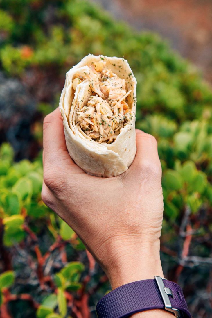 Woman holding a cashew chicken salad wrap