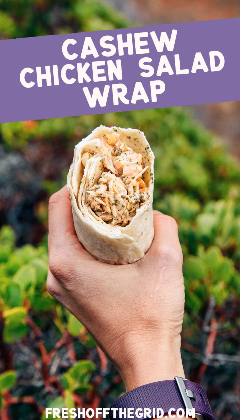 This sweet & spicy Cashew Chicken Salad Wrap is a perfect on-the-go lunch while hiking, camping, or backpacking. via @freshoffthegrid