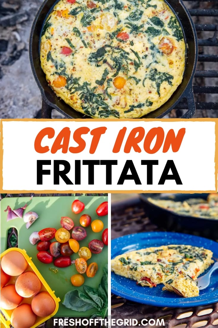 This Cast Iron Frittata is a great campfire meal while camping! With summery flavors like tomatoes and basil, eggs, and melty cheese, this is a great camping breakfast for groups and families. via @freshoffthegrid