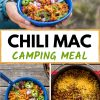 "Pinterest graphic with text overlay reading ""Chili mac camping meal"""