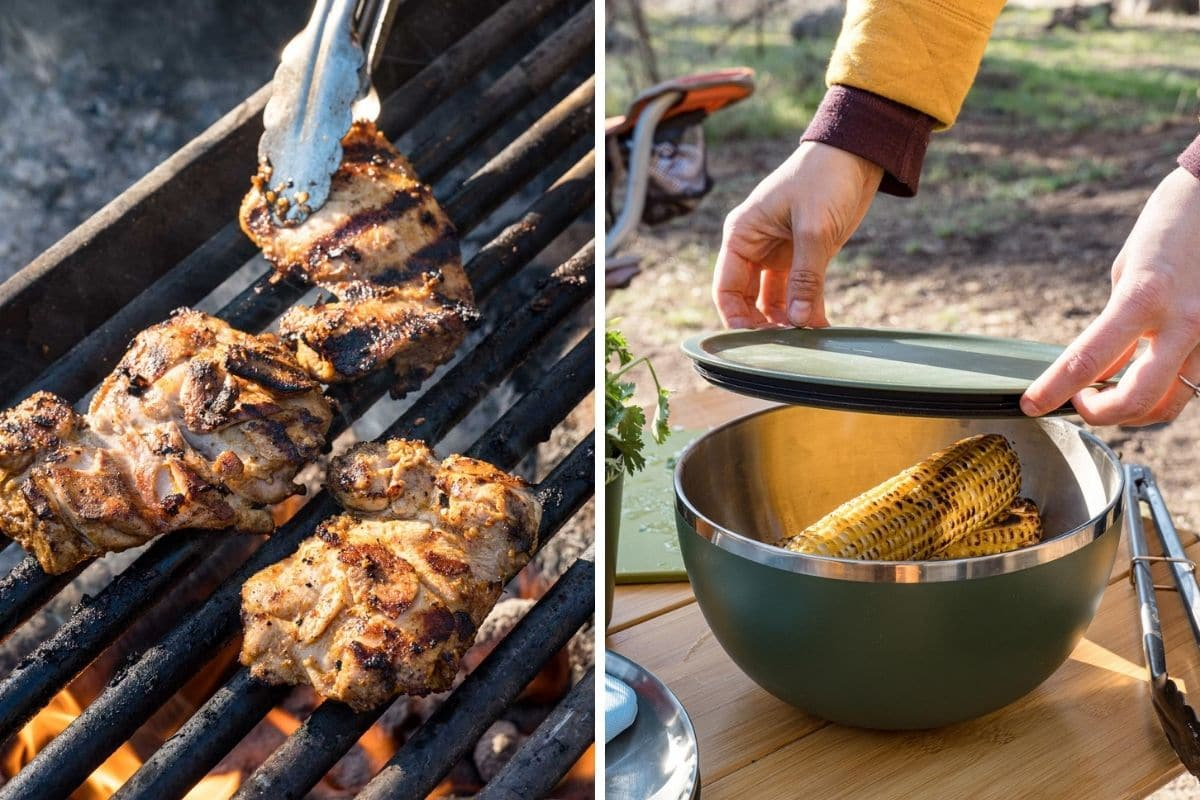 Left: Three chicken thighs on a campfire grill. Right: Megan placing a lid over a large bowl containing grilled corn
