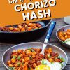 """Pinterest graphic with text overlay reading """"Camp Breakfast Chorizo Hash"""""""