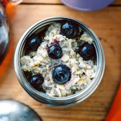 Oatmeal with blueberries in a thermos jar