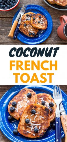 "Pinterest graphic with text overlay reading ""Coconut French Toast"""