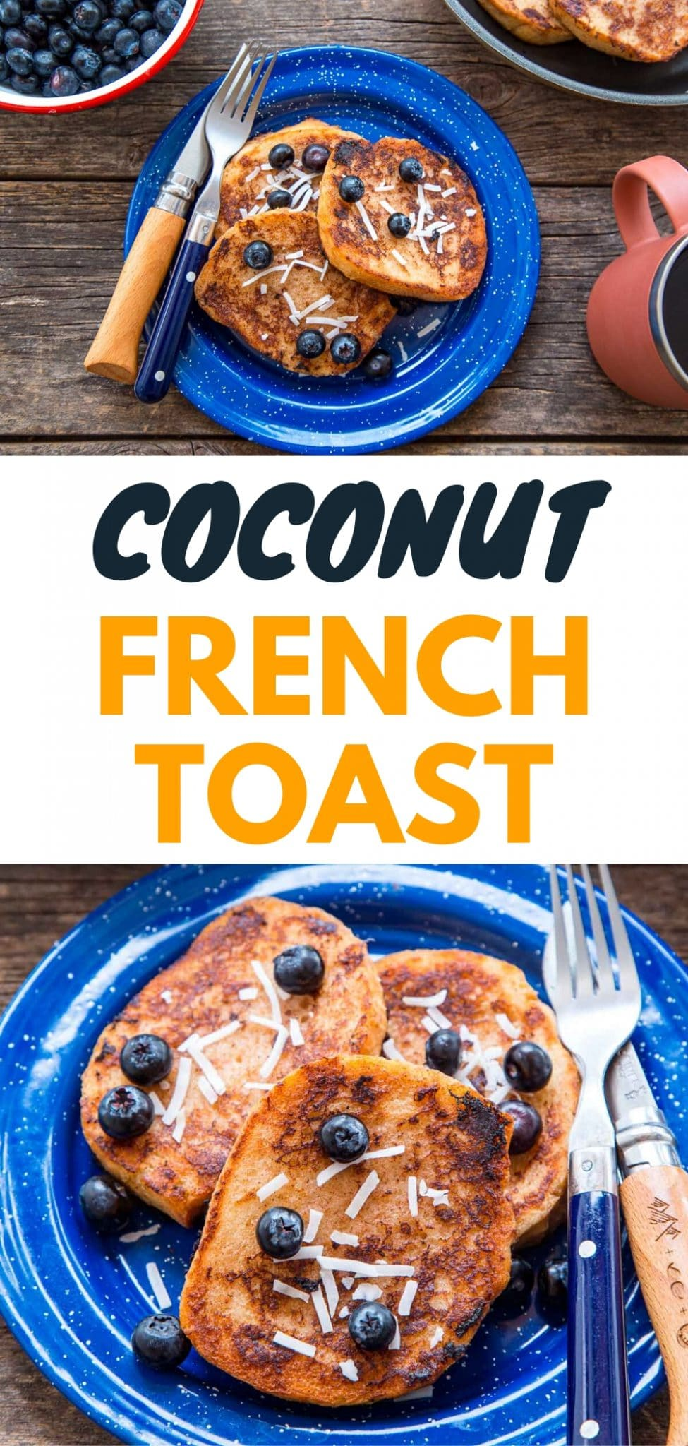 This banana and coconut milk French Toast is a great (vegan!) camping breakfast.  Camping food | Family camping via @freshoffthegrid