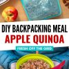 "Pinterest graphic with text overlay reading ""DIY Backpacking meal apple quinoa"""