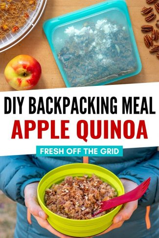 """Pinterest graphic with text overlay reading """"DIY Backpacking meal apple quinoa"""""""