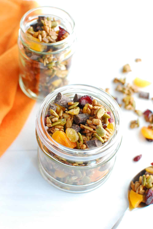 Nut free trail mix in a small mason jar