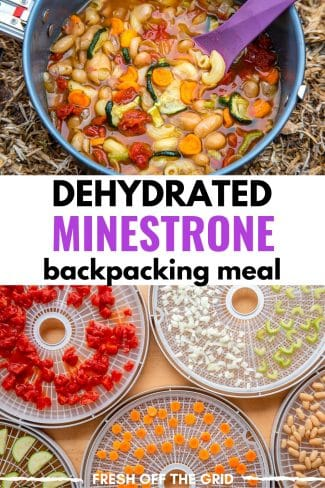 "Pinterest graphic with text overlay reading ""Dehydrated Minestrone backpacking meal"""