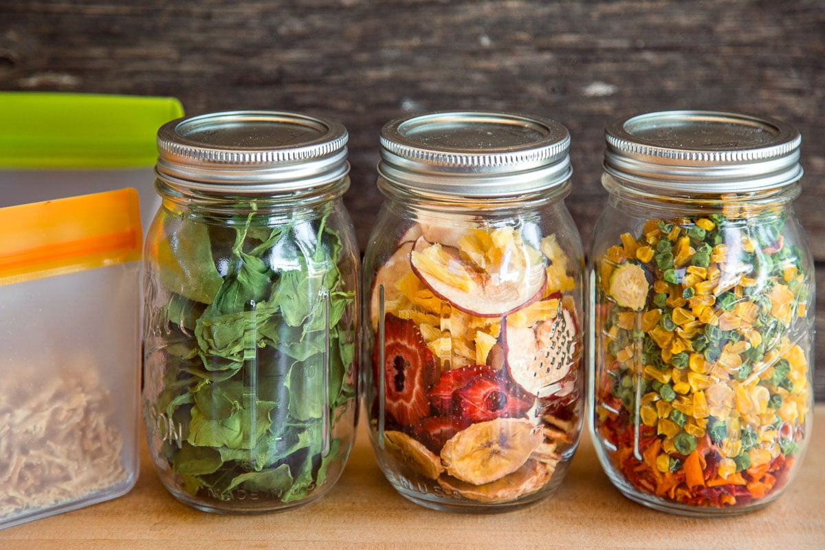 Dehydrated fruit and vegetables in canning jars and resealable bags