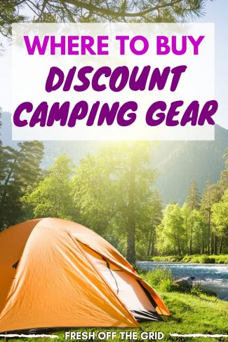 """Pinterest graphic with text overlay reading """"Where to Buy Discount Camping Gear"""""""