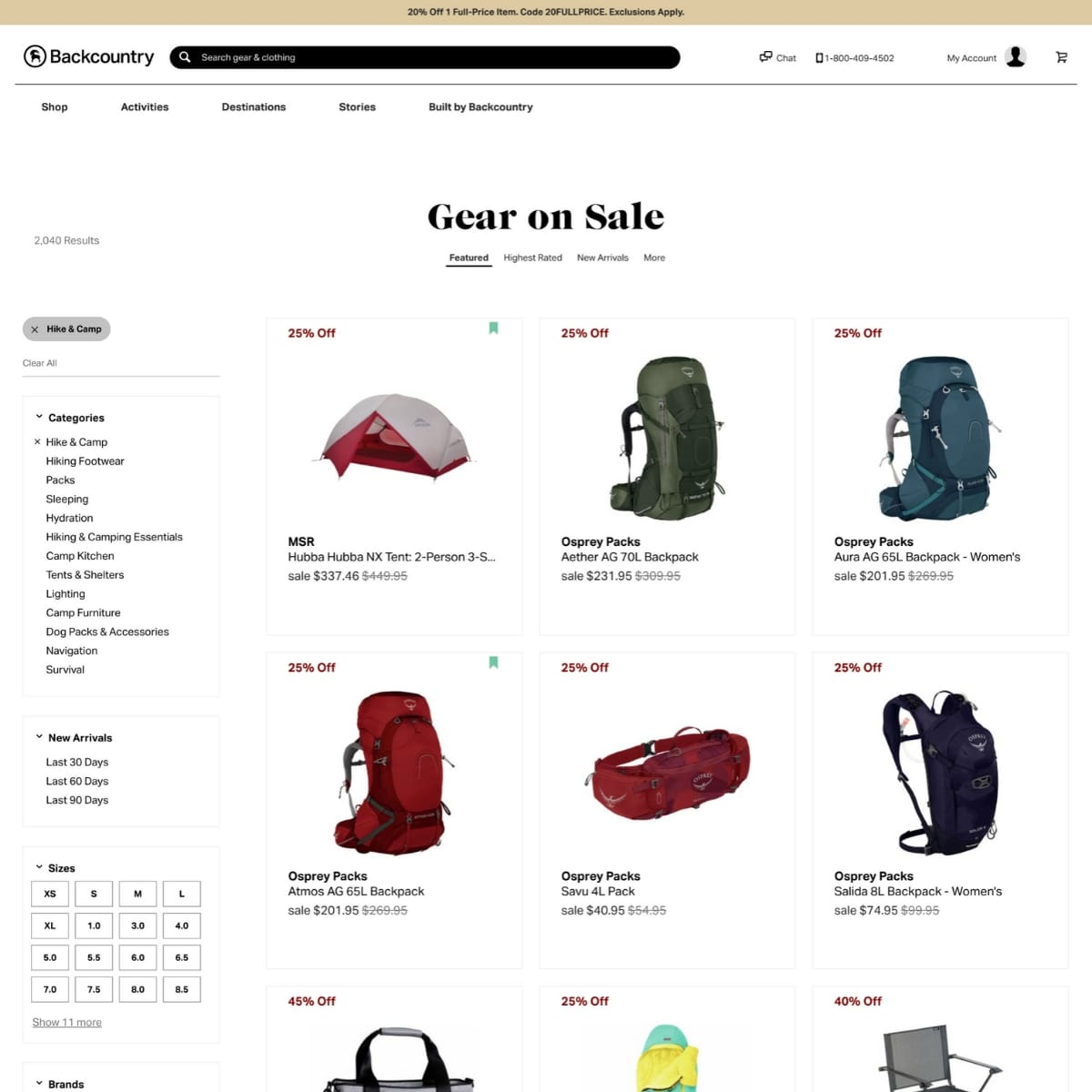 Screen shot of Backcountry website