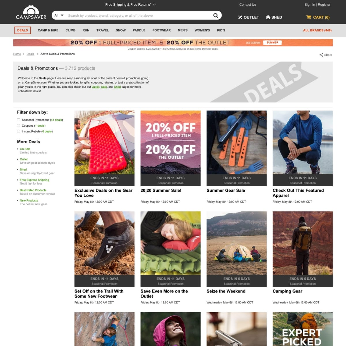 Screen shot of Campsaver website