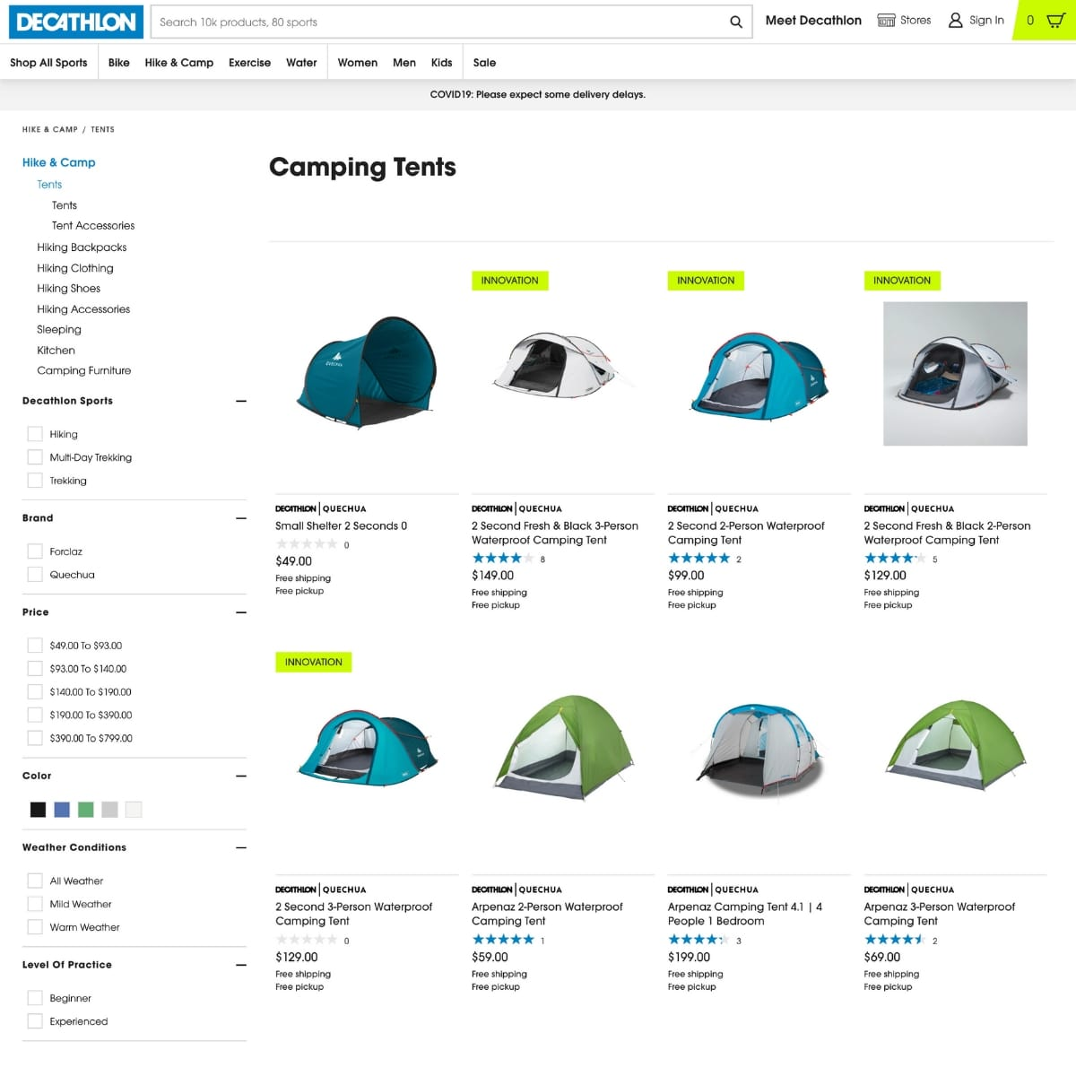Screen shot of Decathlon website