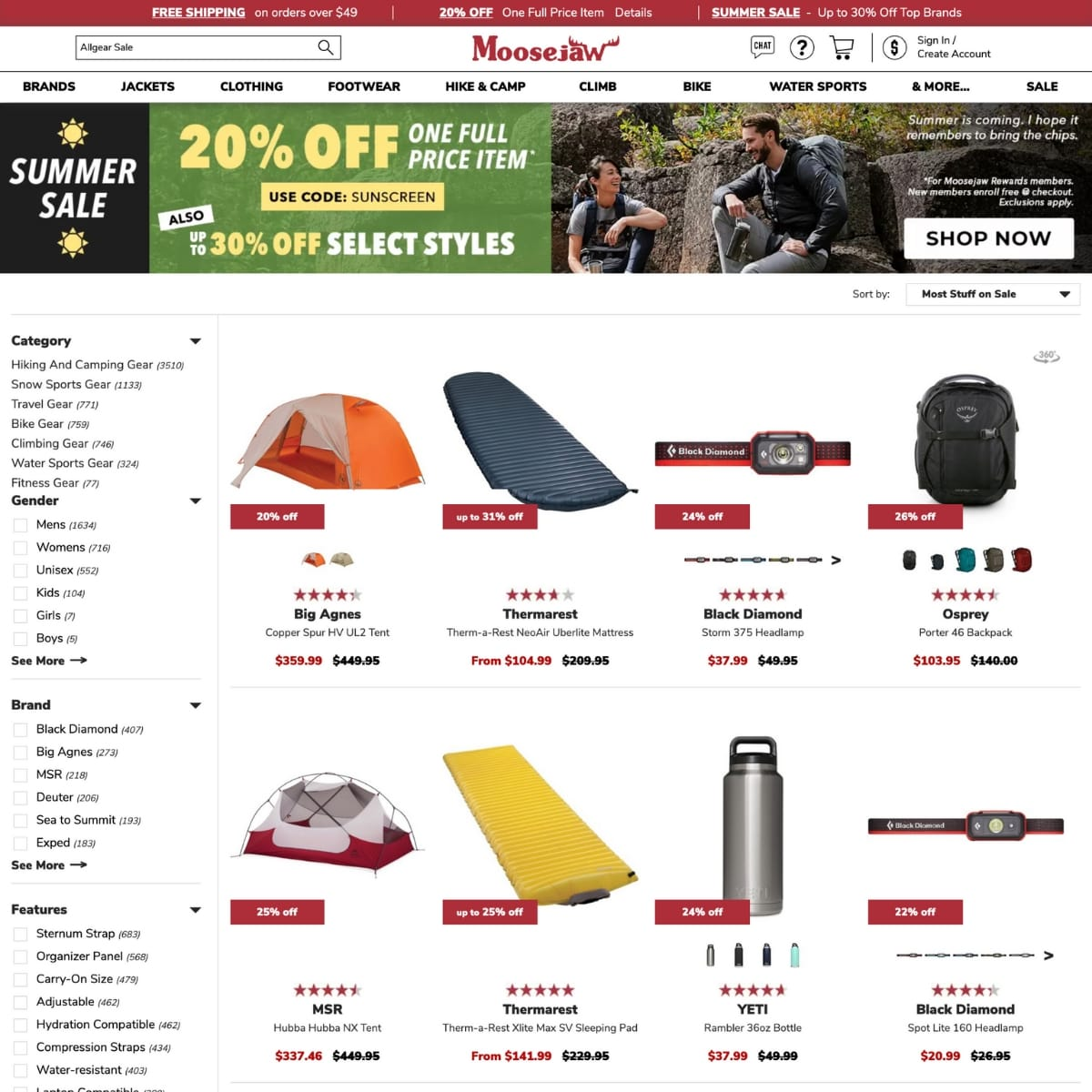 Screenshot of Moosejaw website
