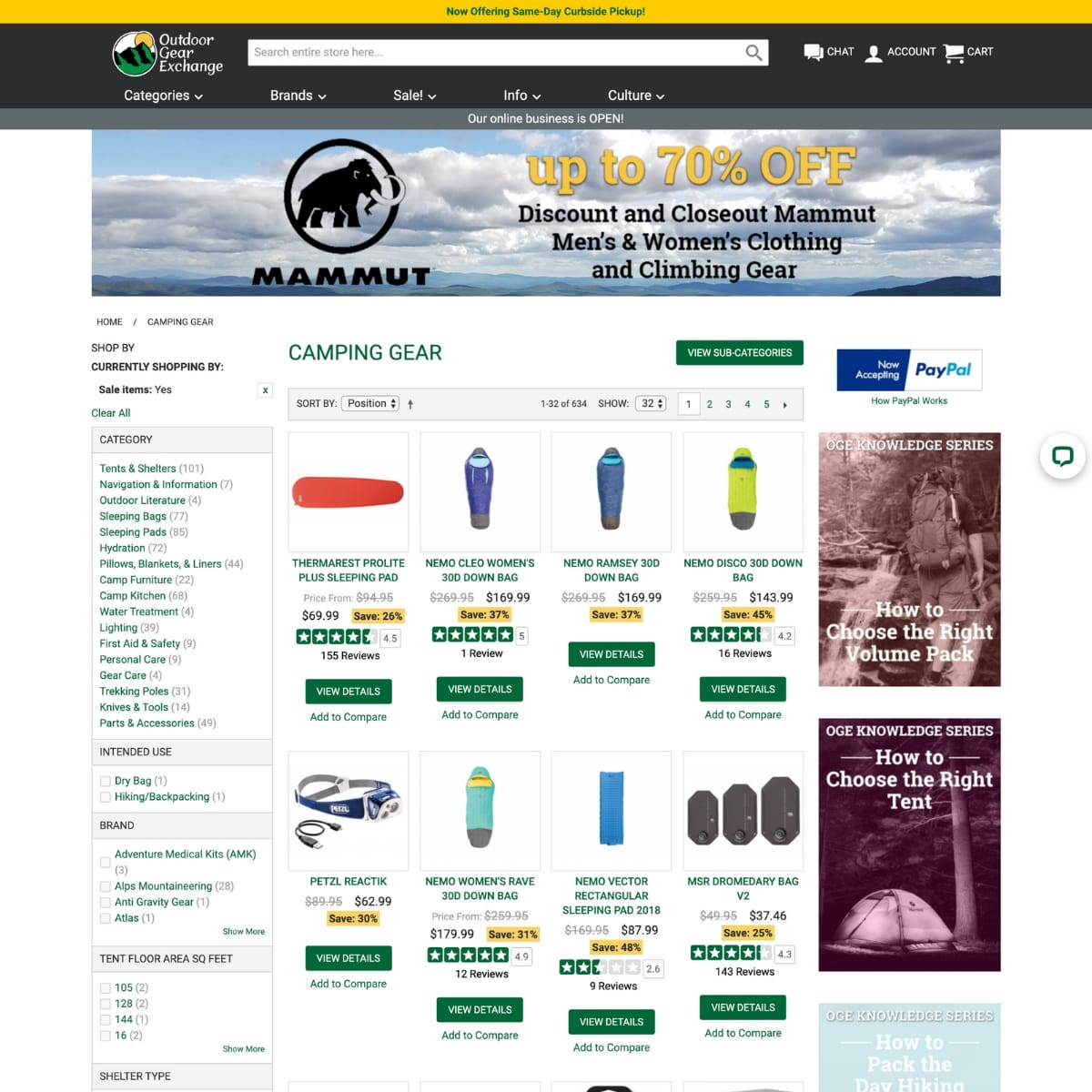 Screen shot of Outdoor Gear Exchange website