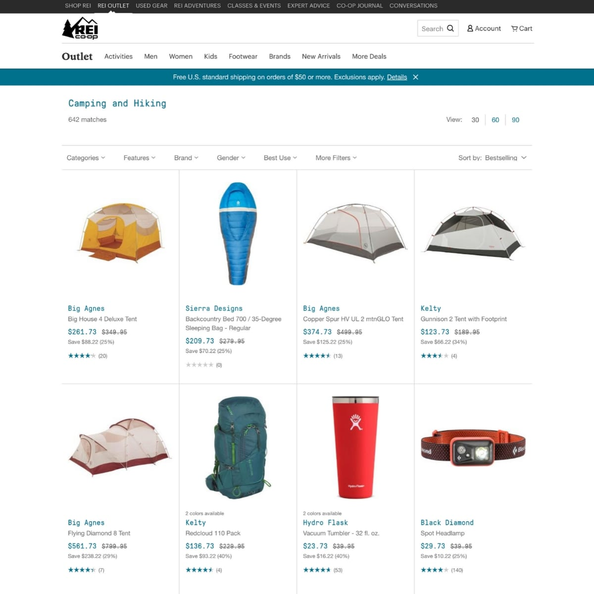 Screen shot of REI Outlet website