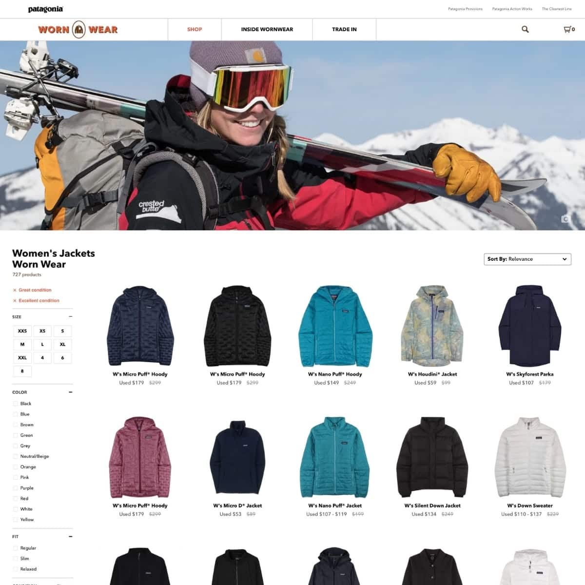Screen shot of Patagonia worn wear website