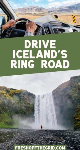 """Pinterest graphic with text overlay reading """"Drive Iceland's Ring Road"""""""