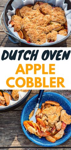 """Pinterest graphic with text overlay reading """"Dutch oven apple cobbler"""""""
