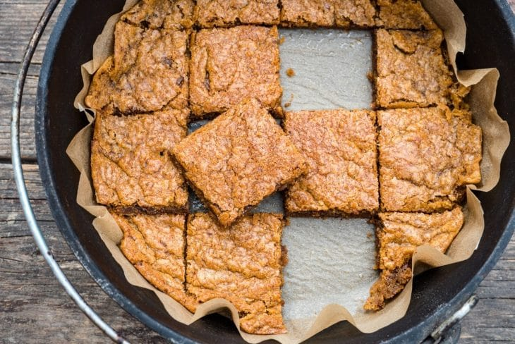Blondie squares in a Dutch oven