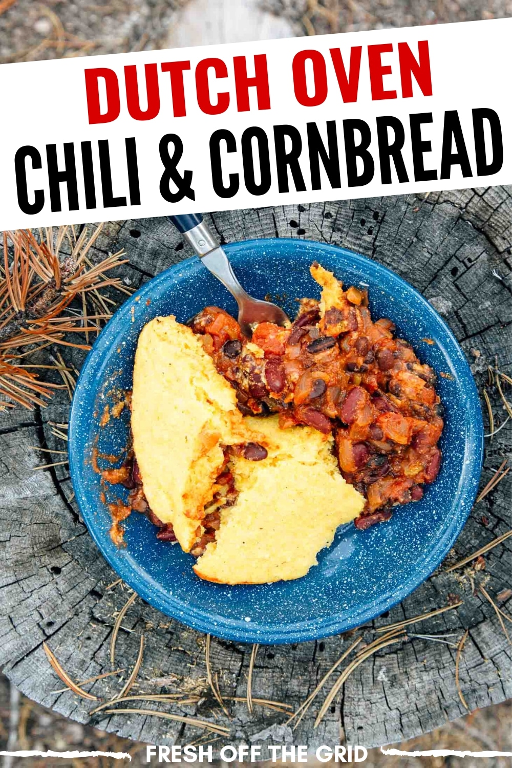 Dutch Oven Chili with Cornbread is a warm and filling one pot camping meal that your family is going to love! via @freshoffthegrid