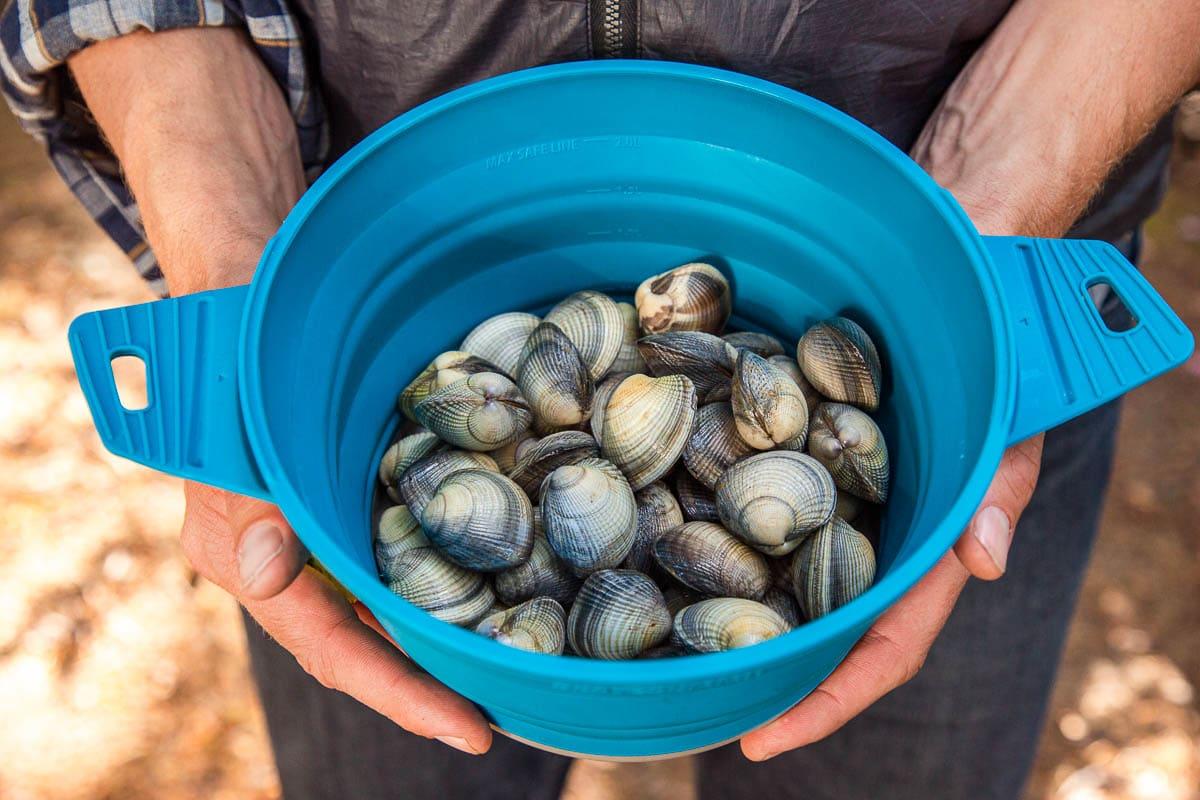 Michael holding a blue pot full of littleneck clams
