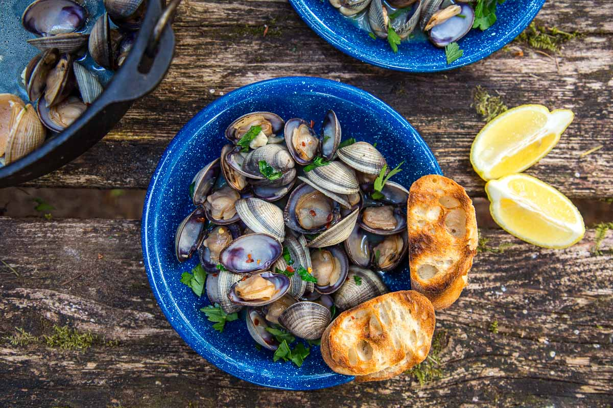 A blue bowl of steamed clams and grilled bread on a camp table