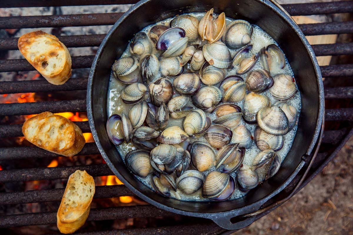 A dutch oven filled with clams over a campfire