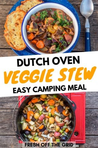 "Pinterest graphic with text overlay reading ""Dutch oven veggie stew easy camping meal"""