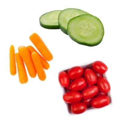 Cucumbers carrots and cherry tomatoes