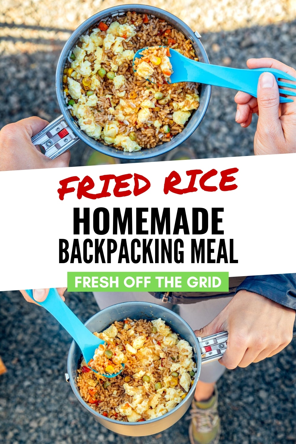 This Backcountry Fried Rice is a homemade backpacking meal that does not require a dehydrator! Using store bought ingredients, you can easily make this take-out food classic on the trail. Backpacking food   Backpacking recipe via @freshoffthegrid