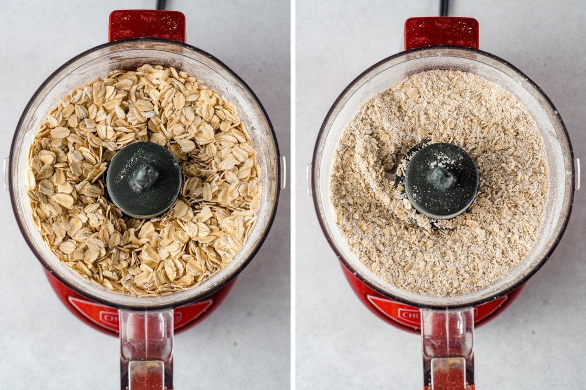 Oats in a food processor, first whole then ground to flour