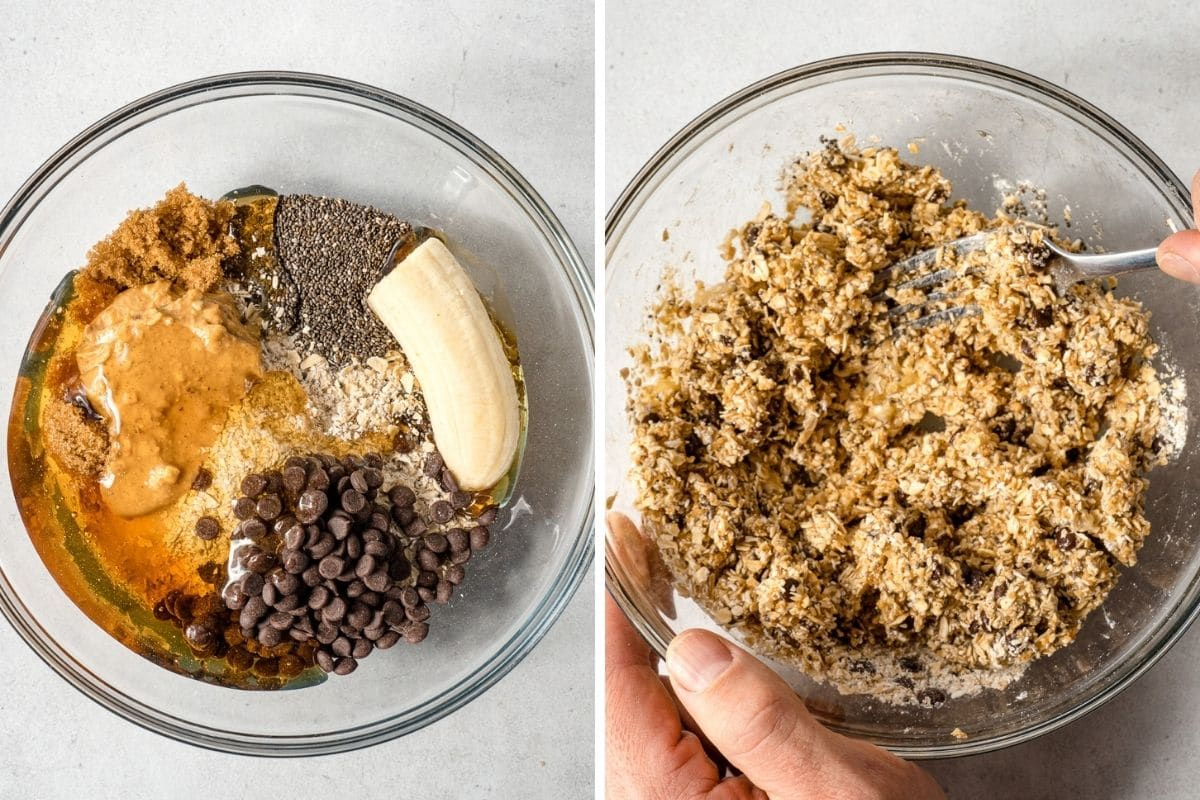 Ingredients for granola bites in a bowl, first whole then mixed together