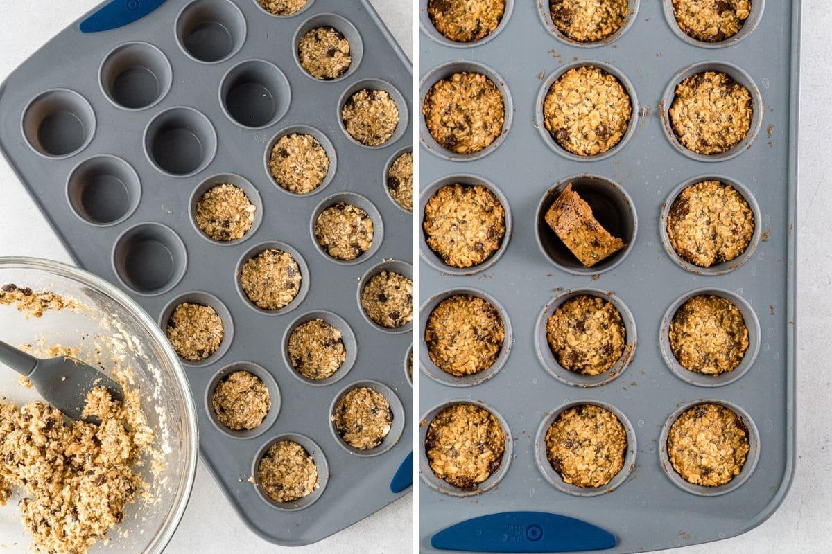 Granola bites in a mini muffin pan