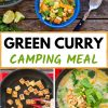 """Pinterest graphic with text overlay reading """"Green curry camping meal"""""""
