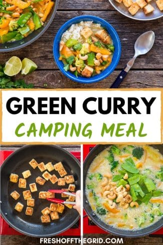 "Pinterest graphic with text overlay reading ""Green curry camping meal"""