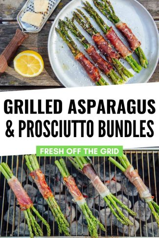 """Pinterest graphic with text overlay reading """"Grilled asparagus and proscuitto bundles"""""""