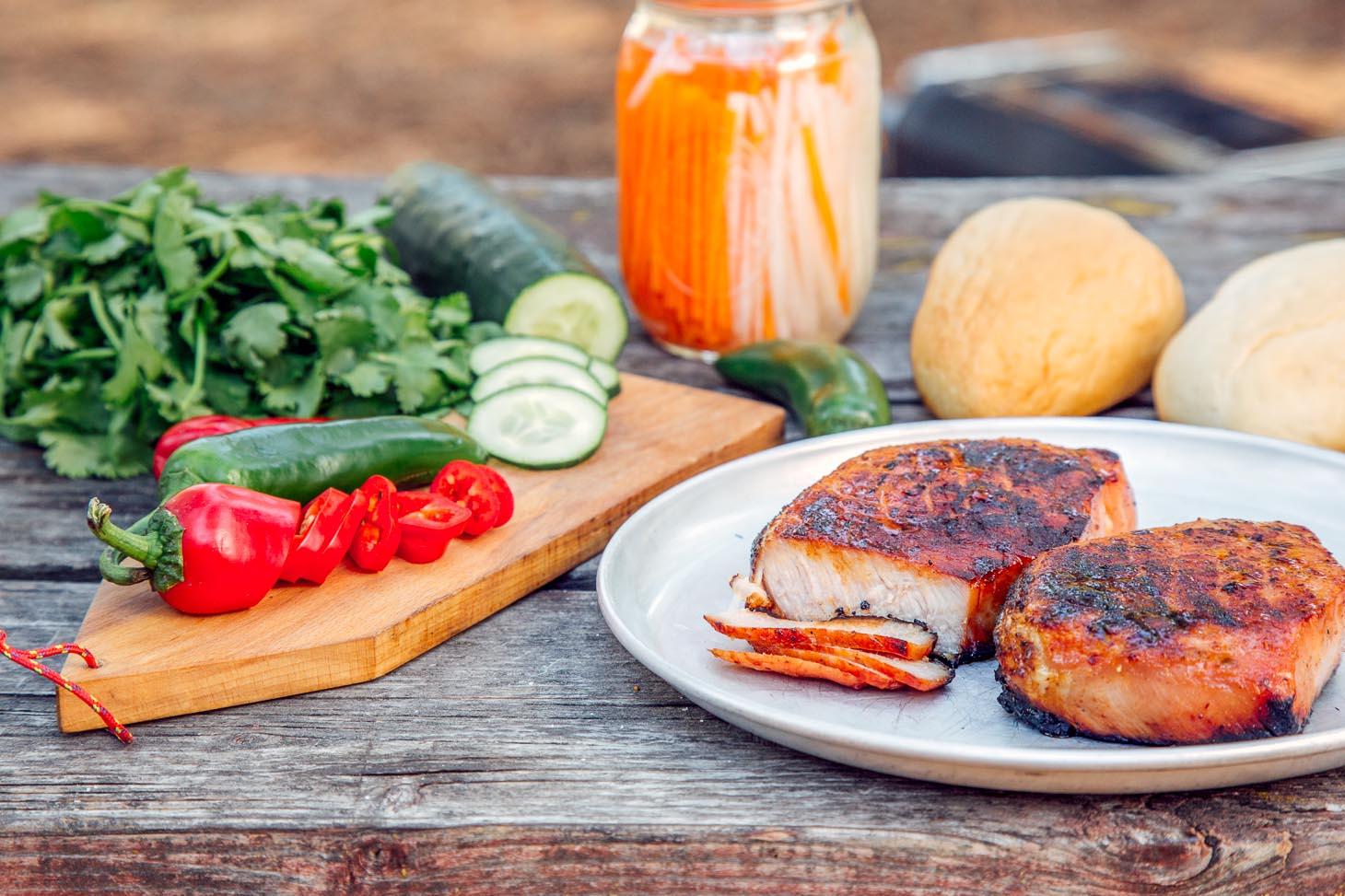 Sliced grilled pork loin on a plate