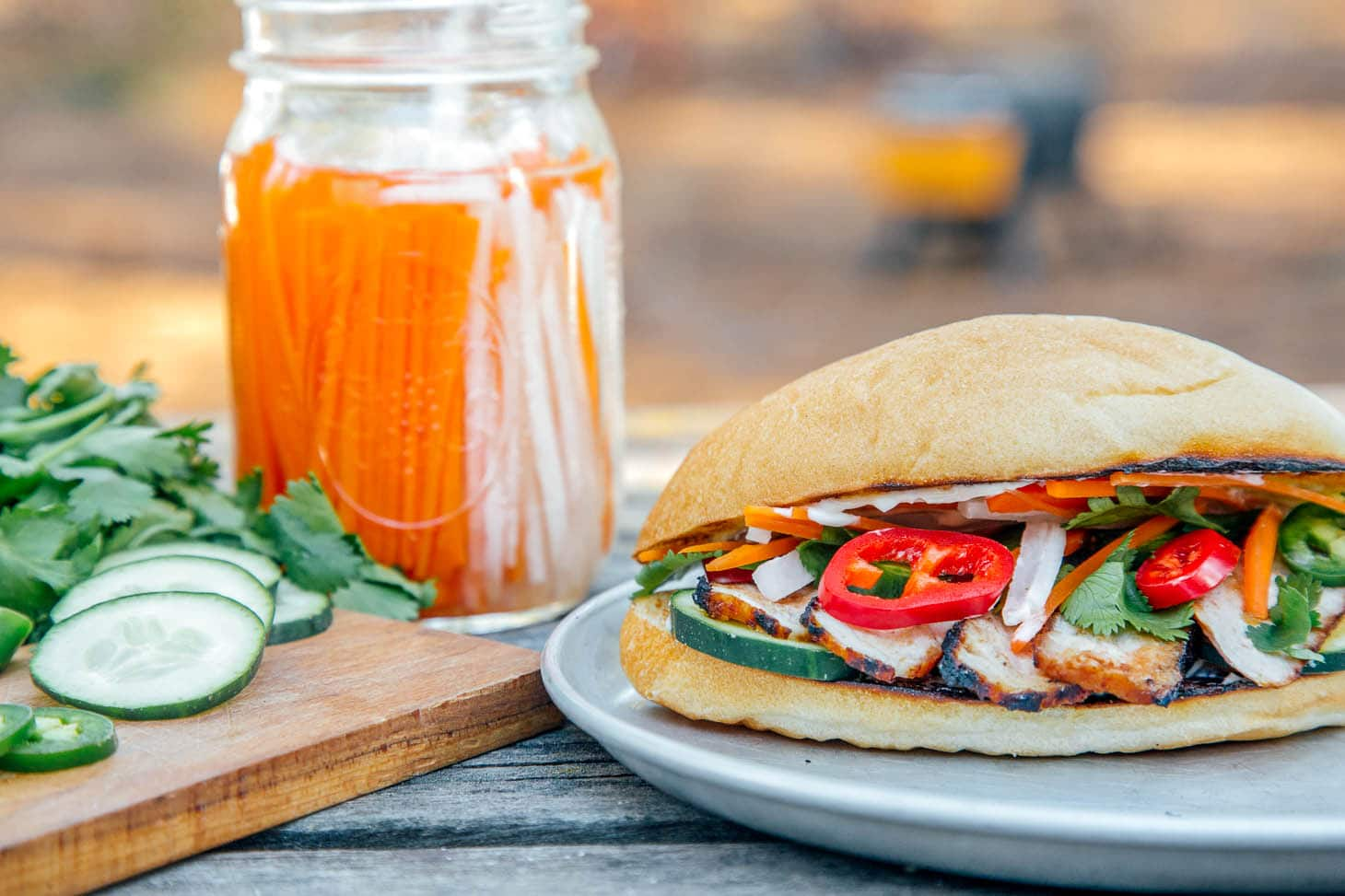 Side view of a grilled banh mi sandwich