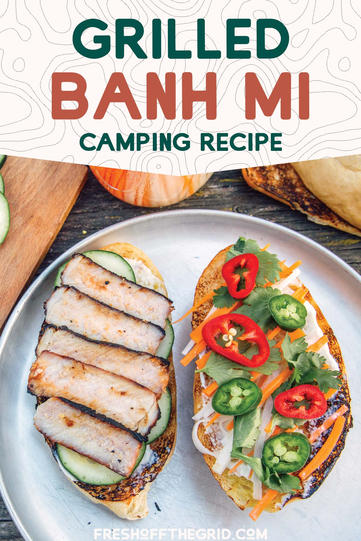 Soft baguette bread, smoky and sweet pork, spicy jalapenos, and tangy pickled vegetables, this campfire Bánh Mì takes camping sandwiches to a new level. Pick up your car camping lunch game and give this recipe a try! via @freshoffthegrid