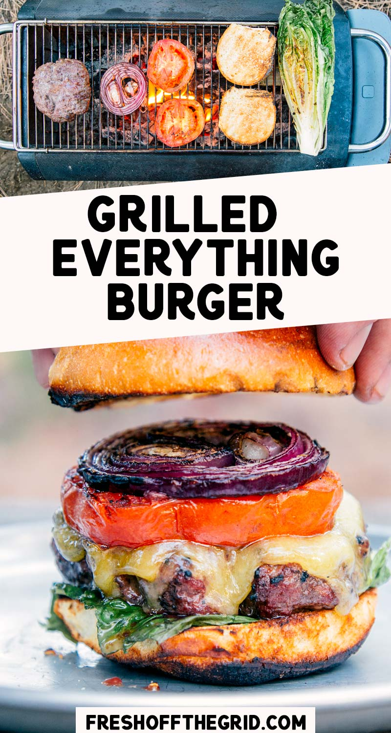 "Love the smokey taste of classic grilled burgers? Then you are going to LOVE this ""Grilled Everything"" burger! Grilled tomatoes and onions top this juicy burger which is perfect for summer camping trips or backyard BBQ's. We share our best burger grilling tips so you can confidently cook the perfect burger every time. via @freshoffthegrid"