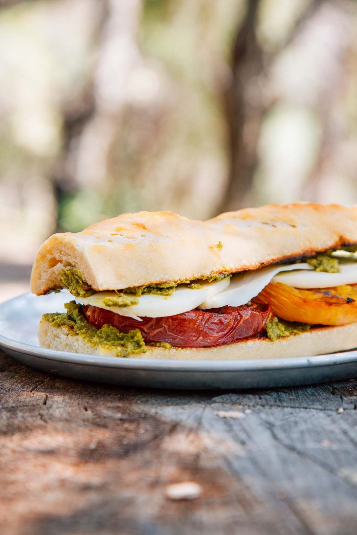 Grilled caprese sandwich on a plate